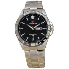 Swiss Army Unisex SA1107 Day Date Jam Tangan Pria Stainless Steel - (Silver-Hitam)