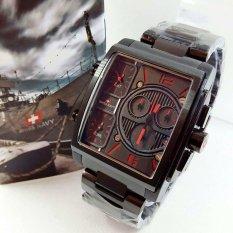 Swiss Navy Triple Time - Jam Tangan Pria - Stainless Steel - SN8949 Black Red