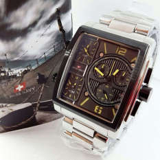 Swiss Navy Triple Time - SN8949 - Jam Tangan Pria - Stainless Steel - Silver Black