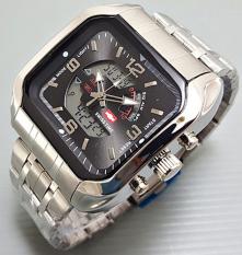 Swiss Time Dual Time - Jam Tangan Pria - Stainless Steel - 1075 Silver Hitam