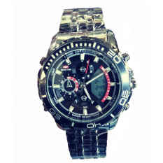 Swiss Time Dual Time - ST1925FB Jam Tangan Pria - Stainlesstell Strap - Full Black
