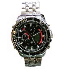Swiss Time Dual Time - ST1925SB Jam Tangan Pria - Stainlesstell Strap - Silver Black