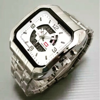 Swiss Time Dual Time - ST955SW - Jam Tangan Pria - Stainlesstell Strap - Silver White
