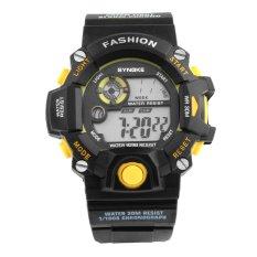 SYNOKE 9298 Unisex Fashion Multifunction Waterproof Sports Digital Watch W / Alarm Chronograph Calendar Noctilucent - Black + Yellow - Intl