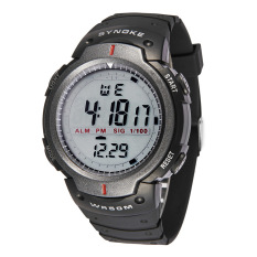 SYNOKE Big Dial 5ATM Water-proof Men Sports Watch Multi-function Night Light Alarm Chronograph Student Watch
