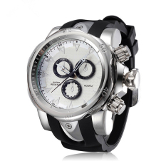 SYNOKE PU Strap Round Dial Digital & Quartz Watch Sport Waterproof Led Watch For Young Man