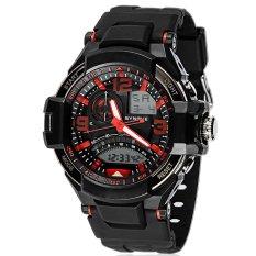 SYNOKE PU Strap Round Dial Digital & Quartz Watch Sport Waterproof Led Watch Ss67876_Red