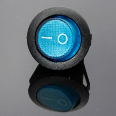 Teamtop LED Dot Dash Light Auto Round Rocker ON / OFF SPST Switch 12V 16.3-Pin Blue - Intl