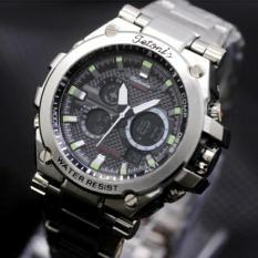 Tetonis Dual Time - Jam Tangan Fashion Pria - Stainlees Strap - Silver - TS4508