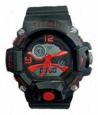 Tetonis Dual Time - Jam Tangan Pria - Rubber Strap Hitam - Black Red - TS-56