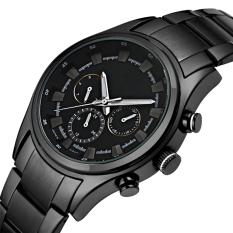 The High Quality TTLIFE Luxury Brand Fashion Sports Men's Stainless Steel Watch Strap Waterproof Quartz Watch (Black)