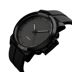 The High Quality TTLIFE New Brand Fashion Men's Big Dial Simple Design Quartz Silicone / PU Leather Strap Waterproof Wristwatch (Black)