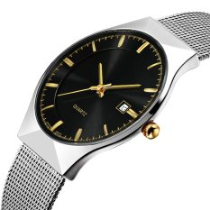 The High Quality TTLIFE New Luxury Brand Men's Fashion Ultra Thin Simplicity Stainless Steel Mesh Band Calendar Display Quartz Wristwatch (Black)