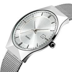 The High Quality TTLIFE New Luxury Brand Men's Fashion Ultra Thin Simplicity Stainless Steel Mesh Band Calendar Display Quartz Wristwatch (White)