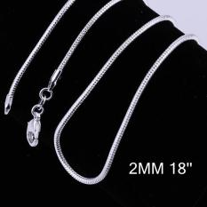 Tiaria Tiaria C010-18 Fashion Different Sizes Silver Snake Chain Aksesoris Kalung Lapis Emas 18K - Silver (Silver)