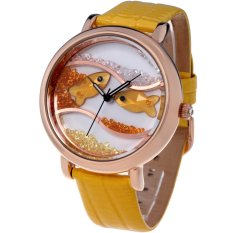 Time100 Diamond Crystal Fish Dial Genuine Leather Yellow Strap Ladies Watch W50059L.05A