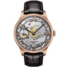 Tissot Original T-Classic Chemin Des Tourelles Squelette Mechanical T099.405.36.418.00 Jam Tangan Pria - Brown / Rose Gold