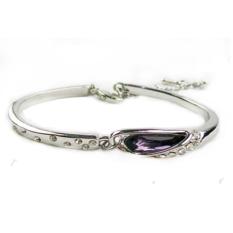 Titanium Glass Slipper Bracelet Purple Crystal 925 Sterling Silver / Gelang Wanita - Ungu