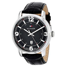 Tommy Hilfiger Men's 1710342 Black Dial Watch With Black Leather Band - Intl