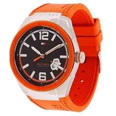 Tommy Hilfiger Men's 1790726 Logo Embossed Stainless Steel Orange Silicon Watch - Intl