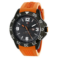 Tommy Hilfiger Men's 1790985 Cool Sport Black Ion-Plated Watch With Orange Silicone Band - Intl
