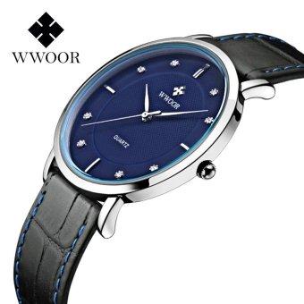Top Brand WWOOR Men Watches Ultra Thin Real Black Leather Watchband Waterproof Casual Watch Men Wrist Quartz Watch Fashion Wristwatches 8011 (Black Blue) - intl