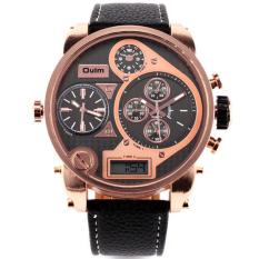 Top DZ Brand Luxury Oulm Men 3 Time Zone Big Dial Watch Japan Movt Hours Quartz Sports Wristwatch Military Relojes (Black)
