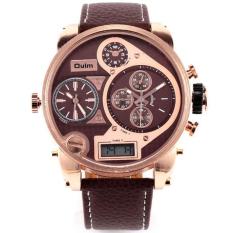Top DZ Brand Luxury Oulm Men 3 Time Zone Big Dial Watch Japan Movt Hours Quartz Sports Wristwatch Military Relojes (Brown)