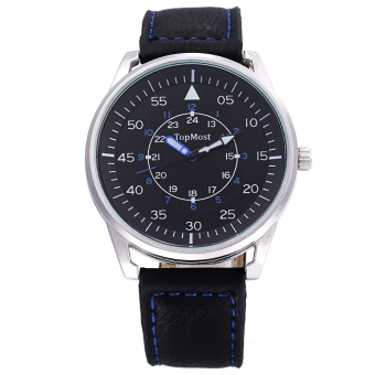TOPMOST 1933 Male Quartz Watch 3ATM Luminous Pointer Leather Band Wristwatch (Silver)