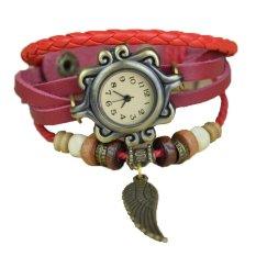 Toprank Women's Synthetic Leather Bracelet Wrist Quartz Watch (Red)