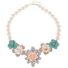 TOSHOON RED Women's Bauhinia Flower Acrylic Diamond Pendant Chain Necklace (Green)