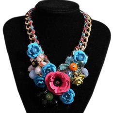 TOSHOON RED Women's Elegant Bauhinia Flower Acrylic Diamond Party Chain Necklace (Blue + Pink)