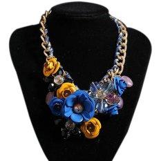 TOSHOON RED Women's Elegant Bauhinia Flower Acrylic Diamond Party Choker Necklace (Blue + Yellow)