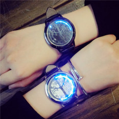 Touch Screen LED Watch Electronic Life Tree Pattern Dial Couple Lovers Smart Quartz Wristwatches (White, 1pcs) - Intl