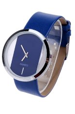 Transparent Dial Faux Leather Wrist Watch (Blue) (Intl)