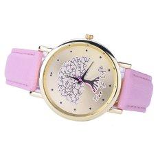 Tree Pattern Women Fashion Collocation Leather Watch Pink (Intl)