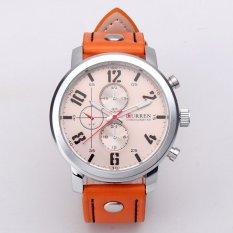 Trendy Fashion Curren Men Leather Stainless Steel Sport Analog Quartz WristWatch Orange Band & Black Digit