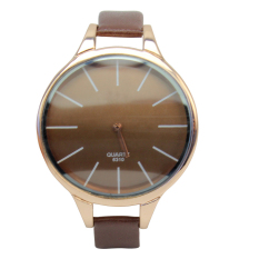 Trendy Women Girls Charm Big Unique Face Small Band Fashion Wrist Watch Brown