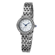 TTLIFE Luxury Brand Lady's Elegant Fashion Alloy Bracelet Waterproof Quartz Diamond-Encrusted Wrist Watch (White)