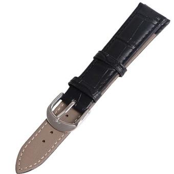 Twinklenorth 12mm Black Genuine Leather Watch Strap Band