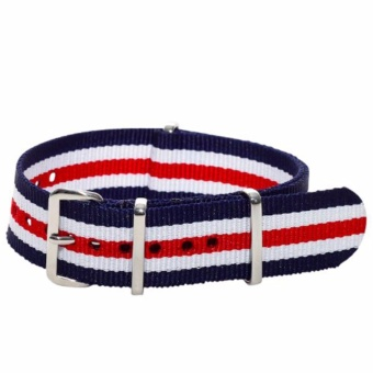 Twinklenorth 20mm Blue Red White Multi Stripes Nato Strap Nylon Military Watch Band Strap Watchband NATO-034 - intl