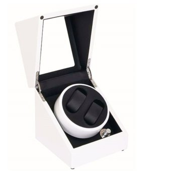 Twinklenorth ww055 White Wooden Automatic Dual Double Watch Winder