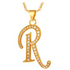 U7 Alphabet R Pendant Initial Necklace Cubic Zirconia 18K Real Gold Plated Fashion Women / Men Jewelry Gift (Gold) (Intl)