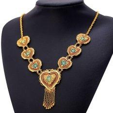 U7 Bohemian Tassel Heart Necklace 18K Real Gold Plated Fashion Women Jewelry (Gold) (Intl)