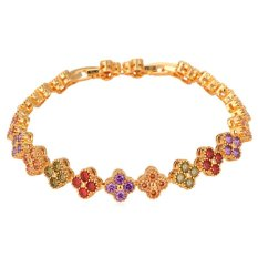 U7 Clovers Multi-color Cubic Zirconia Chain Bracelet 18K Real Gold Plated Fashion Jewelry (Multi-color)
