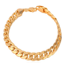U7 Cuban Chain Link 18K Gold Plated Bracelet Men Jewelry (Gold)