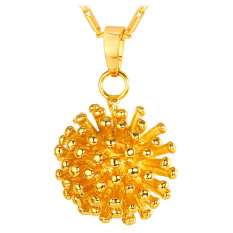 U7 Cute Ball 18K Gold Plated Pendant Necklace (Gold) (Intl)