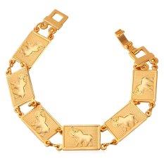 U7 Cute Elephant 18K Real Gold Plated Chain Bracelet (Gold)