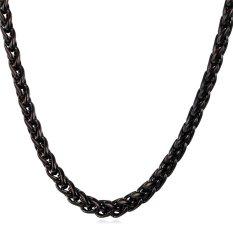 U7 Fashion Untuk Pria/Wanita Kalung Rantai Kualitas Tinggi Hitam Senjata Berlapis Emas Perhiasan Aksesoris (Hitam)