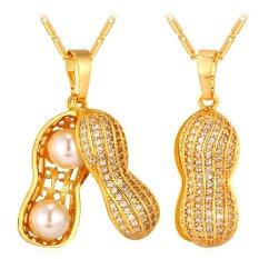 U7 Kacang Perhiasan Mewah Mutiara Kubik Zirconia 18 KB Nyata Emas Berlapis Liontin Kalung (Emas)
